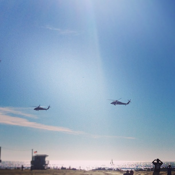 Blackhawks over the boardwalk.